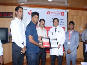 AHA International Training Centre Inauguration done by our Chairman Dr S Gurushankar, also the copy of agreement handed over to Dr Narendra Nath Jena, Director Institute of Emergency Medicine at MMHRC on 19-07-2019